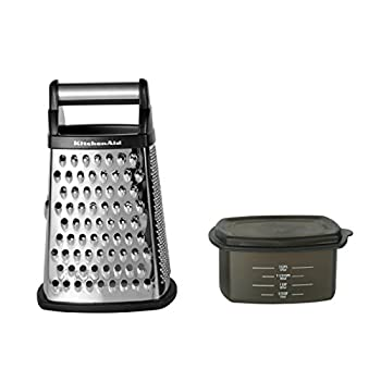 KitchenAid Gourmet 4-Sided Stainless Steel Box Grater with Detachable Storage Container 10 inches tall Black