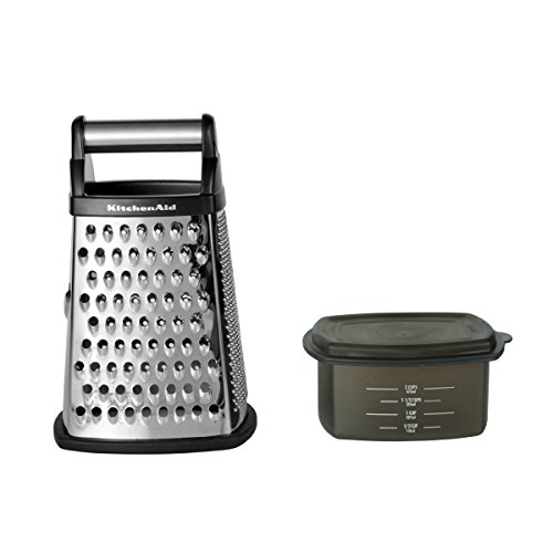 KitchenAid Gourmet 4-Sided Stainless Steel Box Grater with Detachable Storage Container, 10 inches tall, Black