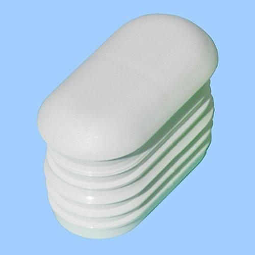 Dekaform Endkappe G101-38x20 mit gewölbten Kopf - Stopfen / Möbelgleiter aus Kunststoff als Stuhlgleiter Tischgleiter Kunststoff Lamellen-Stopfen Gartenstuhl für Flach-Oval-Rohr*38x20-weiss - Menge variabel (16)