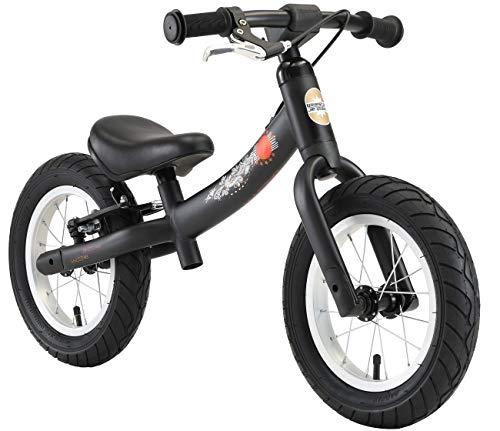 BIKESTAR 2-en-1 Vélo Draisienne Enfants pour Filles de 3-4 Ans | Vélo sans pédales évolutive 12 Pouces Sportif Croissante Cadre | Noir
