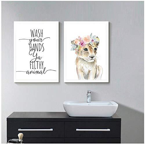 Zhaoyangeng Dieren bloemenkrans kunstschilderij leeuw kinderkamer bedrukt baby poster wassen uw handen canvas poster badkamer decoratie - 50X70Cmx2 niet ingelijst