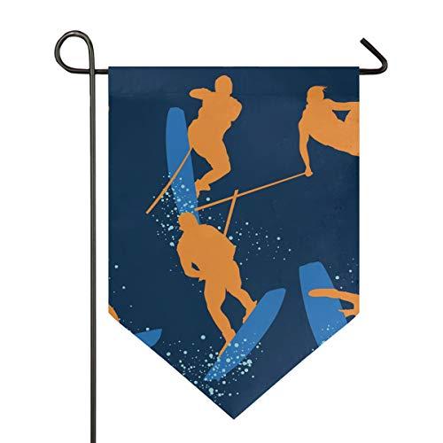 DEZIRO Garden Flag Wakeboarden Verticale dubbelzijdige Yard Decor Kleurrijk Ontwerp voor Alle Seizoenen & Vakanties 28x40in 1 exemplaar