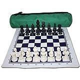 MNBV Juego de ajedrez Enrollable con Bolsa de Viaje de Tablero de ajedrez y Bolsa de Terciopelo con Pieza de ajedrez International Chess para niños y Adultos