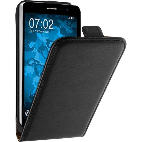 PhoneNatic Kunst-Lederhülle kompatibel mit LG L Bello 2 / L Bello II - Flip-Case schwarz + 2 Schutzfolien