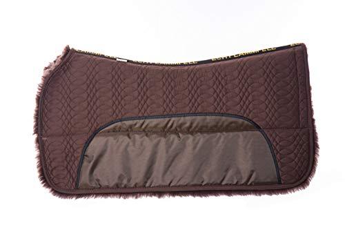 Merauno Lammfell Western Pad Western Korrekturpad Square Pad Sattelpad polsterbar mit Tasche und Schaumstoffeinlage (Braun Lammfell + Braun Quilted Fabric)
