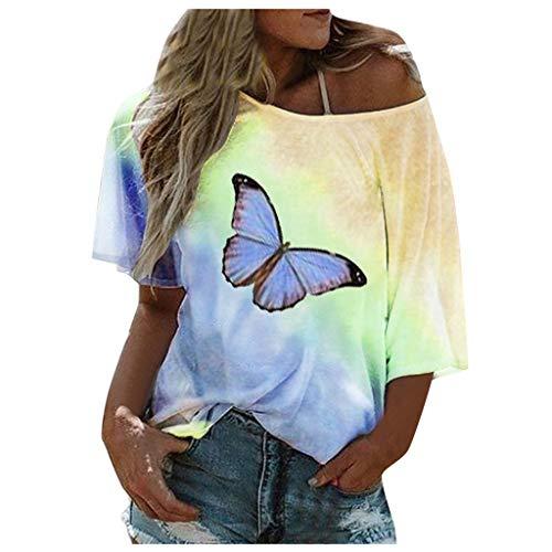 Rosennie Frauen Sommer T-Shirt Bluse Damen Kurzarm Schulterfrei Oberteil Top Tie-Dye Schmetterling Print Tshirt Plus Size Off Shoulder Top Übergröße Oberteile Tunika Tops