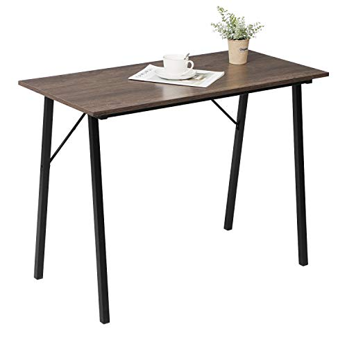 """Small Computer Study Desk for Small Space 40"""" Home Kids Writing Desk Laptop Gaming Table for School Students Modern Portable Wood Work Desk for Office Corner Bedroom with Metal Frame, Brown Wood Grain"""