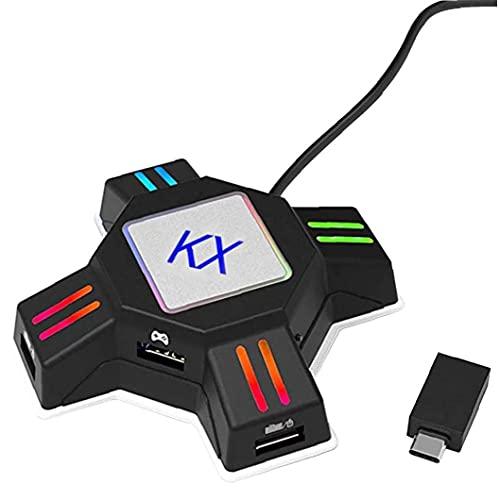 Tuimiyisou Conmutador Teclado ratón y Adaptador del convertidor del regulador Gamepad KX convertidor Accesorios Juego Apto para PS4 PS3 Xbox Negro