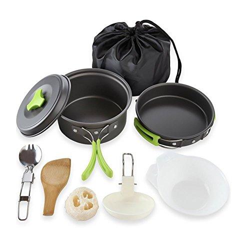 Qtiwe 10 piezas Cookware Kit Picnic Ollas Cocina camping Juego de vajilla para 1 - 2 personas para camping Outdoor Senderismo Picnic BBQ, FDA Certificación