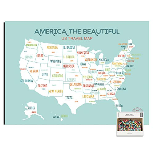 Epic Adventure Maps United States Push Pin Map 24' x 17' - Travel Map Poster to Mark Your Travels Around The USA - Multicolored Pushpins Included - Great Gift for Travelers (Aqua)