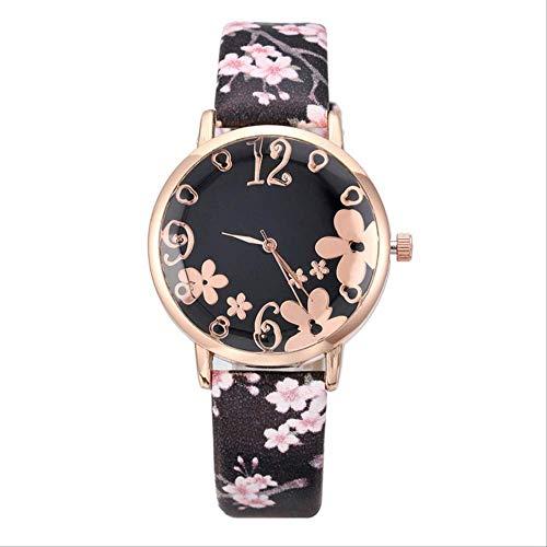 WFQ Uhr Armbanduhr für Mädchen Neue Quarzuhr für Studenten Quarzuhr für Frauen geprägten Blumen schwarz
