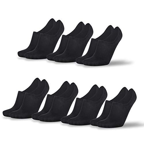 Mofreso Herren & Damen Unsichtbare Socken - Baumwolle, fair produziert - Robustes Material, Zehenbereich nahtfrei - Atmungsaktiv, angenehmes Tragegefühl - 7er Set (Schwarz, 43-46)