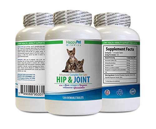 Best Hip and Joint Supplement for Cats - CAT Hip and Joint Complex - Helps Stiff Joints - Triple Strength -cat glucosamine Treats - 1 Bottle (120 Tabs)