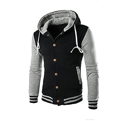 UOFOCO Winter Slim Hoodie Warm Hooded Men Coat Jacket Outwear Sweater Sweatshirt Gray