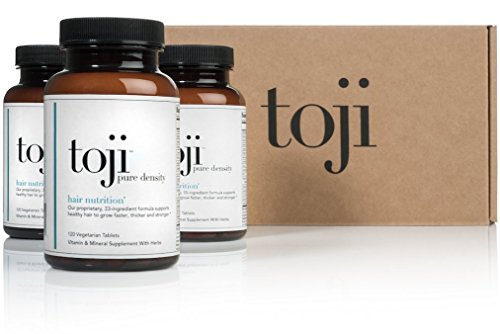Toji Pure Density: Hair Nutrition. A Vegetarian Hair Vitamin Supplement w/ Organic Horsetail, Biotin, DHT Blocker Pack of 3 (90 Day Supply)