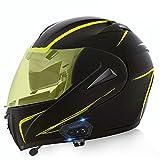 Cascos De Motocicleta De Cara Completa Modular Flip Up Bluetooth Motorbike Casco Ece / Dot Aprobado Con Anti-niebla Visa Doble Impermeable Para Hombres Y Mujeres Adultos(Size:XL(61-62CM),Color:D)