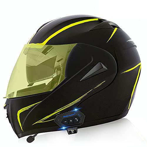 Cascos De Motocicleta De Cara Completa Modular Flip Up Bluetooth Motorbike Casco Ece / Dot Aprobado Con Anti-niebla Visa Doble Impermeable Para Hombres Y Mujeres Adultos(Size:L(59-60CM),Color:D)