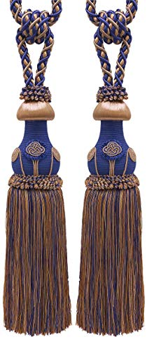 DÉCOPRO Pair of Decorative Ultramarine Blue, Tan Curtain & Drapery Tassel Tieback /30cm Tassel, 81cm Spread (Embrace), 11 Metersm Cord, Baroque Collection Style# TBBL-1 Color: Navy Taupe 5817