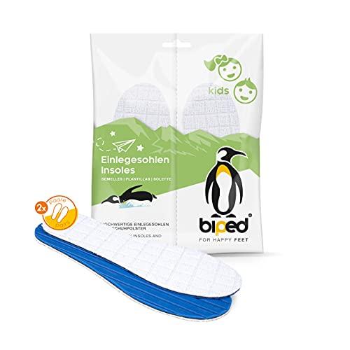 biped 2 pares de plantillas para ir sin calcetines para niño/a - de rizo de algodón con fibra de bambú y carbón activo - antibacterianas, para un frescor higiénico en el calzado z2771 (30-31)