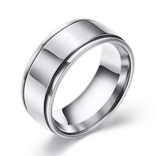 HYwot Personalized Tungsten Gold Ring,Simple Fashion Men's Ring Index Finger Tail Ring,Wedding Couple Bands Rings Men and Women