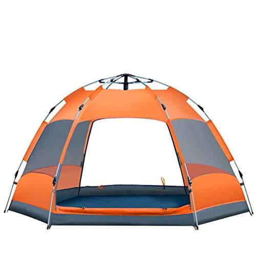 XYZLEO Camping Zelt Draussen Wurfzelt Faltbar Automatisch Bauen GroßEr Raum Zelt 3-4 Personen Mode Hexagon Wasserdicht Zelt Tragbar Atmungsaktiv Komfortabel Campingzelt,Orange