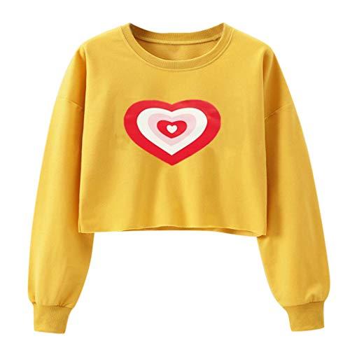 Sudaderas Cortas Niña Camisetas Cortas Chicas Adolescentes Sudadera Corazones Pullover de Manga Larga Ropa Tumblr Top Mujer Casual Sweatshirt Girl(Amarillo,M)