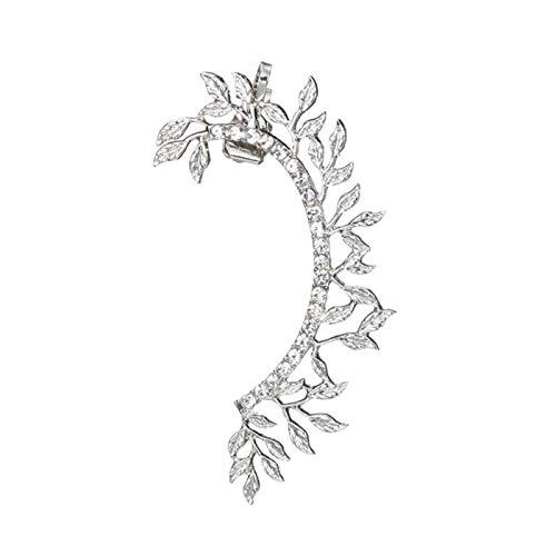 LUOSI Vintage Clip On Earrings Crystal Ear Cuff Non Pierced Earrings Nose Ring Women Earrings Punk Rock Earcuff (Metal Color : E01781)