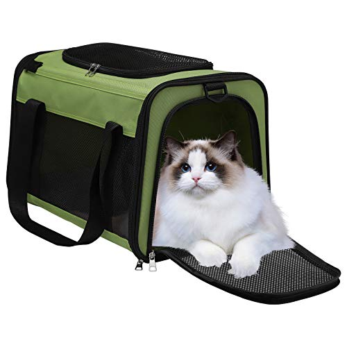 Pet Travel Carrier Bag - Airline Approved Soft Sided Folding Pet Cage with Locking Safety Zippers, Removable Fleece Pad and Pockets for Small Medium Cats Dogs Puppies (M, Green)