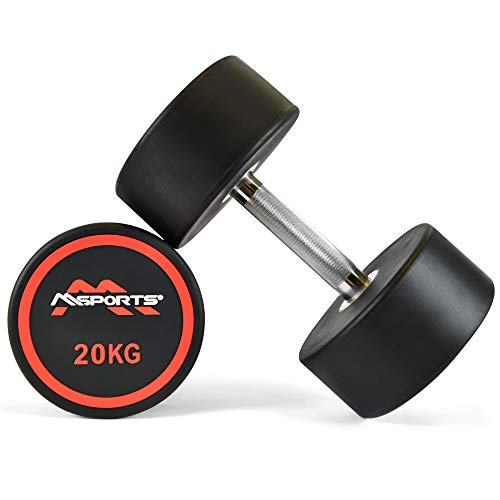 MSPORTS Rundhantel Premium 2er Set | Gummi Kurzhantel Beschichtung 2,5-50 kg | Griff verchromt und gerändelt | Verschiedene Gewichtsvarianten Hantel (2 x 20 kg)