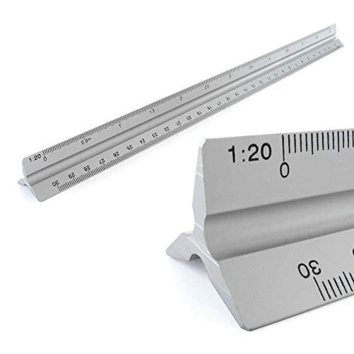Maßstab Lineal Alu Dreikantlineal Dreikantmaßstab Scale Ruler 1: 20, 1: 25, 1: 50, 1: 75, 1: 100, 1: 150, 30cm lang Dreieckig Maßstab