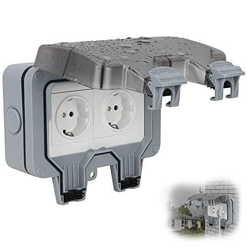 Enchufes Impermeables Para Exteriores Jooheli IP66 Toma Exterior de 2 vías Resistente a la Intemperie Toma Exterior Para Exterior Con Tapa Abatible, Toma de Pared Para Exterior Para Cocina, Garaje