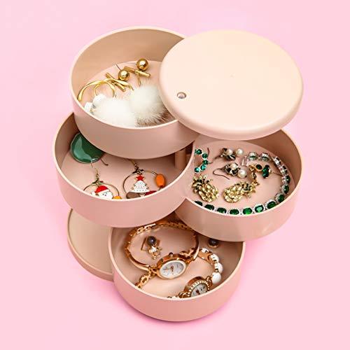 JYDQM Caja de Almacenamiento de Joyas de Cuatro Capas giratorias Rosadas, Accesorios para el Cabello Caja de Almacenamiento de joyería de Mano
