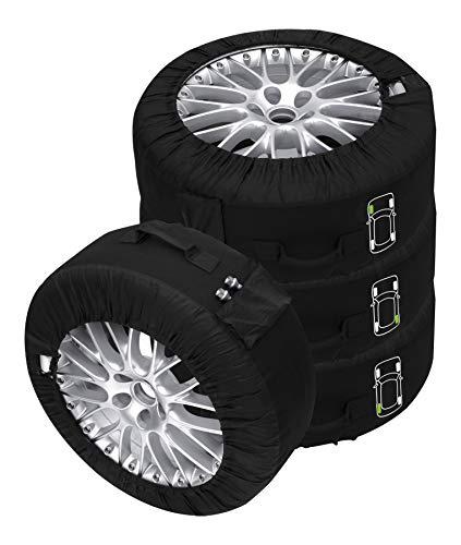 Set de fundas para neumáticos, 4 unidades, color negro Aptas para cualquier tipo de neumático de hasta 245 mm (14-18