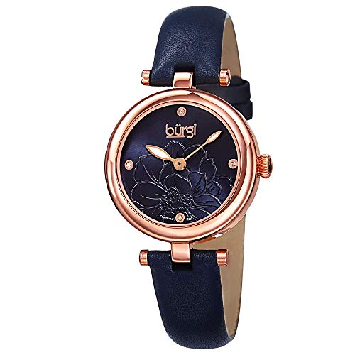 Burgi Diamond Accented Flower Dial Watch - 4 Diamond Hour Markers On...