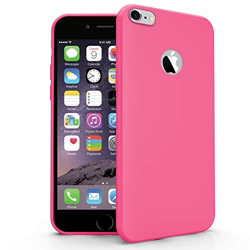 N NEWTOP Cover Compatibile per Apple iPhone 6 e 6S, Custodia TPU Soft Gel Silicone Ultra Slim Sottile Flessibile Case Posteriore Protettiva (Fucsia)