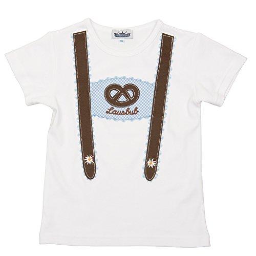 T Shirt mit kurzem Arm und Applikation Hosenträger und Lausbub in Gr 98