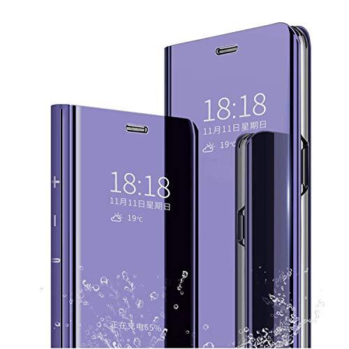 cookaR Oppo Reno2 Z Hülle Spiegel Schutzhülle Flip Handy Hülle mit Standfunktion Handyhülle Tasche für Oppo Reno2 Z Smartphone,Violet