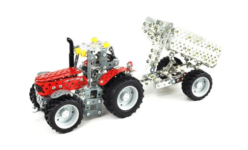Tronico 10031 - Metallbaukasten Trakrot Massey Ferguson MF-5610 mit Kippanhänger, Maßstab 1:32, Mini Serie, rot, 700 Teile