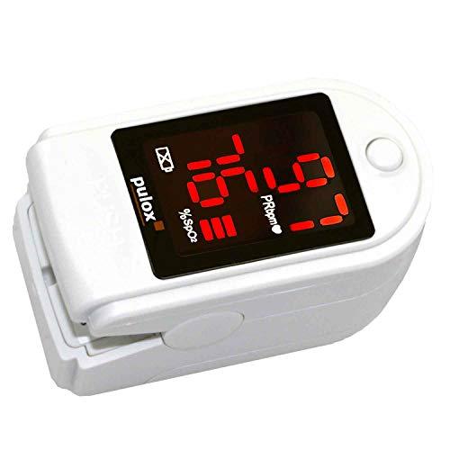 Pulox PO-100 Pulsoximeter mit LED-Anzeige, inkl. Hardcase, Batterien, Schutzhülle, Nylontasche und Trageband Weiß