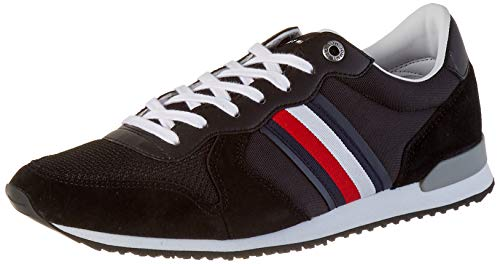 Tommy Hilfiger Herren Iconic Material Mix Runner Sneaker, Schwarz (Black Bds), 45 EU