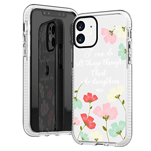 iPhone 11 Case,Yellow Daisy Trendy Floral Flowers Roses Bible Verses Motivational Girls Women Quotes I Can Do All Things Through Christ Soft Protective Clear Case with Design Compatible for iPhone 11