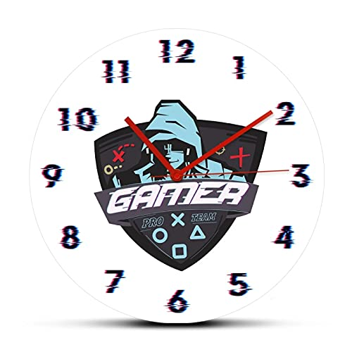 xinxin Reloj de Pared Gamer Hacker Relojes de Pared de Cuarzo Impresos para Sala de Estar Tecnología de decoración Hombres Diseño Moderno Reloj Colgante de Pared de acrílico silencioso