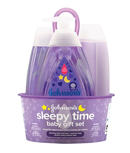 Johnson's Sleepy Time 4 Piece Baby Gift Set with Relaxing Natural Calm Aromas Hypoallergenic & Parben-Free