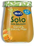 Hero Solo Omogeneizzati Verdura Carota, Zucca e Mais Bio, Cartone da 6 Vasetti x 120 g...