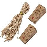 Etiquetas de regalo, cordel de 9,8 pulgadas, 100 piezas, etiquetas de regalo con letras, hermosas para etiquetas de regalo, para marcadores de marcadores