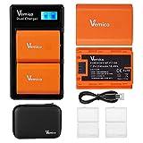 Vemico NP-FZ100 Batería Cargador 2 X 2280mAh Reemplazo Batería y Cargador Doble LCD con Cable Tipo-C para Cámara Sony Alpha A7 III/A7R III/A7R IV/A9/Alpha 9/A9 II/A9R/A9S/A6600