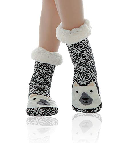 Women Slipper Socks Super Soft and Warm Fleece WYTartist Lined Socks Stripe...