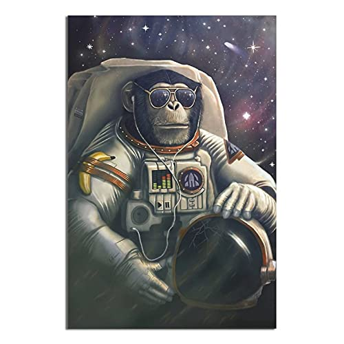 Animal Poster Space Chimps Canvas Poster Decorative Painting Condominium Room Art Wall 16×24inchs(40×60cm)