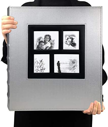 RECUTMS Photo Album 4x6 Holds 600 Photos Black Pages Large Capacity Leather Cover Wedding Family product image