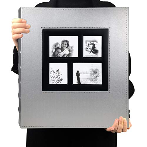 RECUTMS Photo Album 4x6 Holds 600 Photos Black Pages Large Capacity Leather Cover Wedding Family Baby Photo Albums Book Horizontal and Vertical Photos (Silver)